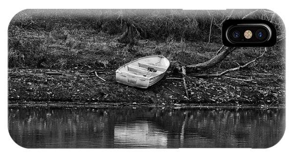 Centennial Bridge iPhone Case - Solitary Boat by Kathi Isserman