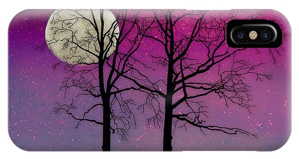 Violet iPhone Case - Solitude II Harvest Moon, Pink Opal Sky Stars by Tina Lavoie