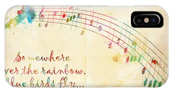 Rock And Roll Art iPhone Case - Somewhere Over The Rainbow by Nikki Smith