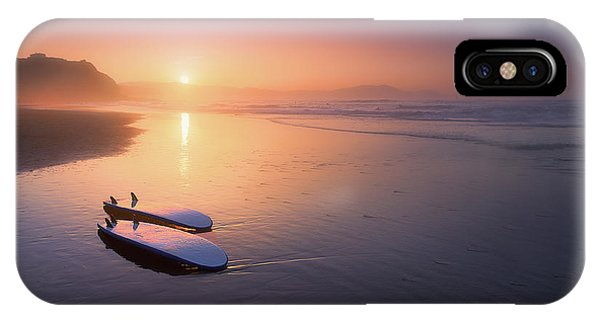 Sopelana Beach With Surfboards On The Shore IPhone Case