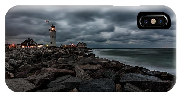 Stormy Clouds Over Old Scituate Lighthouse In The Early Morning IPhone Case