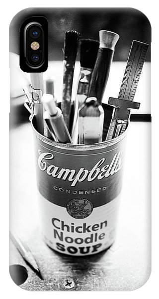 Woodworking iPhone Case - Soupcan Pencil Holder On Workbench In Bw by YoPedro
