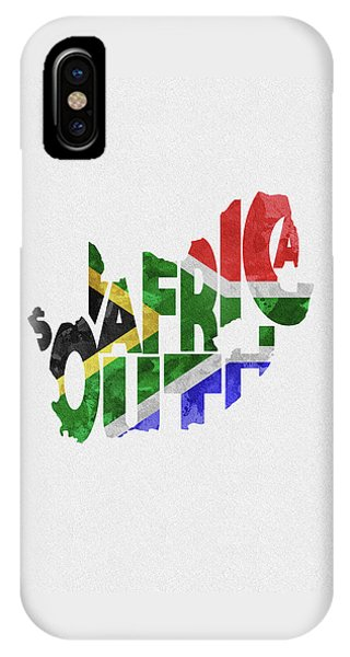 South Africa Typographic Map Flag IPhone Case