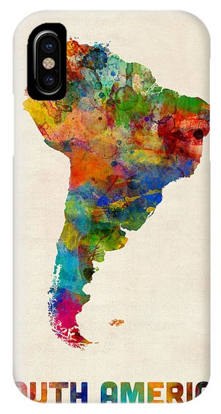 Colombian iPhone Case - South America Watercolor Map by Michael Tompsett