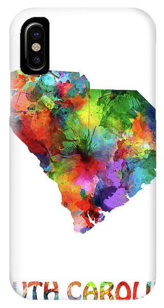 Southwest iPhone Case - South Carolina Map Watercolor by Bekim M
