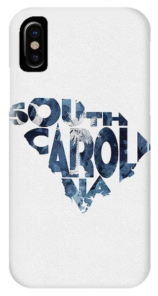 South Carolina Typographic Map Flag IPhone Case