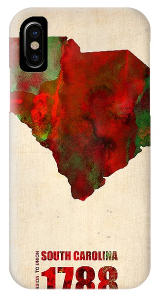 Carolina iPhone Case - South Carolina Watercolor Map by Naxart Studio