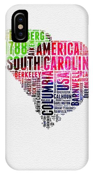 Carolina iPhone Case - South Carolina Watercolor Word Cloud by Naxart Studio