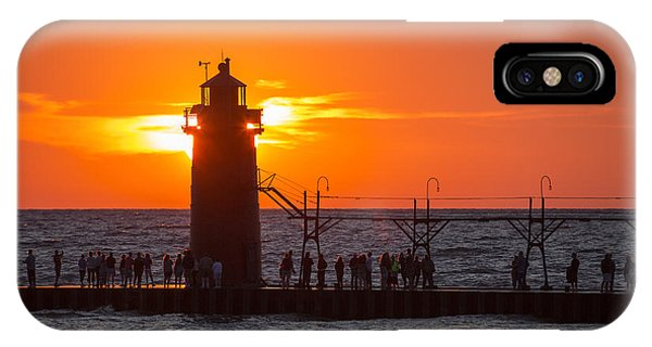 Port Orange iPhone Case - South Haven Michigan Sunset by Adam Romanowicz