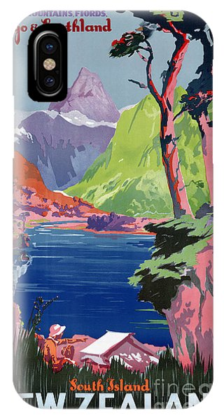 South Island New Zealand Vintage Poster Restored IPhone Case