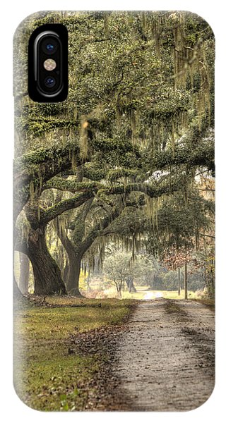 Southern Drive Live Oaks And Spanish Moss IPhone Case