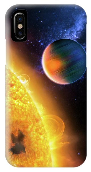 IPhone Case featuring the photograph Space Image Extrasolar Planet Yellow Orange Blue by Matthias Hauser