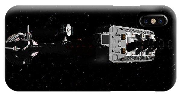 Spaceship Uss Cumberland Traveling Through Deep Space IPhone Case