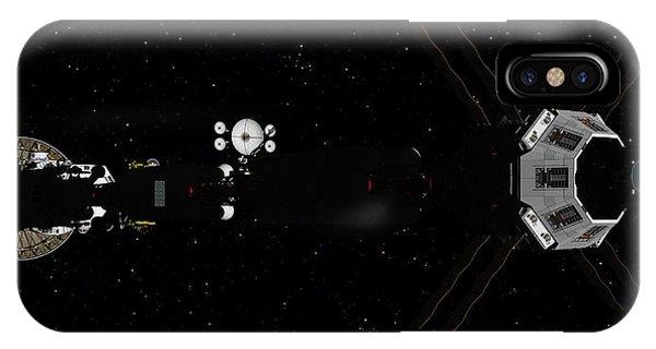 Spaceship Uss Savannah In Deep Space IPhone Case
