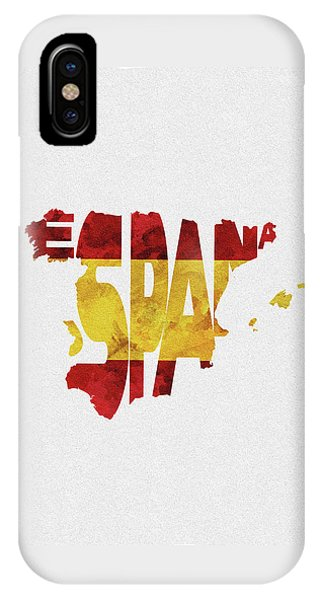 Spain Typographic Map Flag IPhone Case