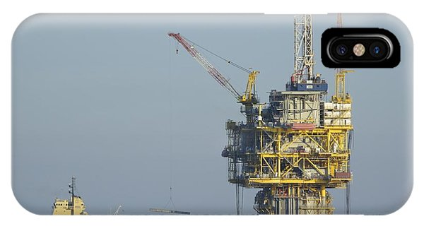 IPhone Case featuring the photograph Spar Type Oil Platform With Supply Vessels by Bradford Martin