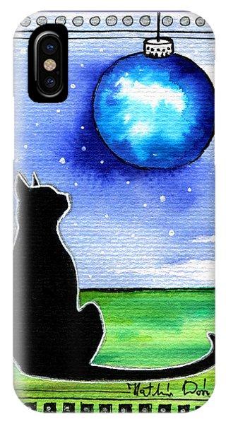 Sparkling Blue Bauble - Christmas Cat IPhone Case