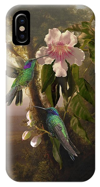 Sparkling Violetear Hummingbirds And Trumpet Flower IPhone Case