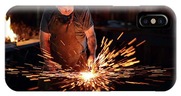 Industry iPhone Case - Sparks When Blacksmith Hit Hot Iron by Johan Swanepoel