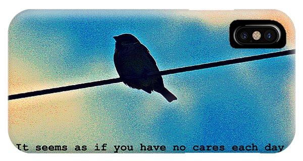 Sparrow On The Wire- Fine Art And Poetry IPhone Case