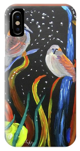 IPhone Case featuring the painting Sparrows Inspired By Chihuly by Linda Feinberg
