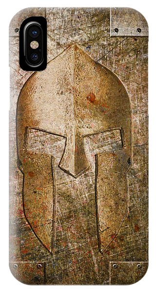 Spartan Helmet On Metal Sheet With Copper Hue IPhone Case