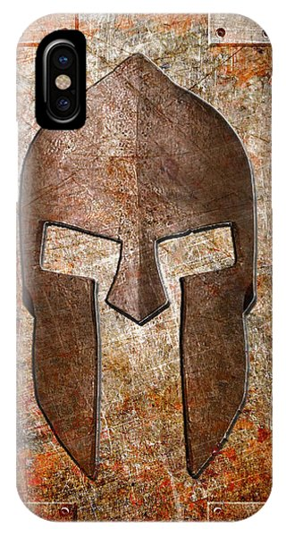 Spartan Helmet On Rusted Riveted Metal Sheet IPhone Case