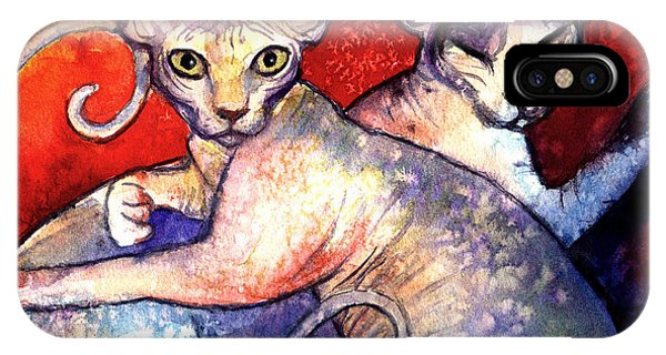 Sphynx Cats Sphinx Family Painting  IPhone Case