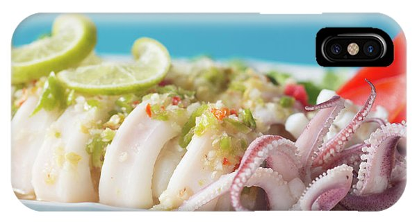 Squid iPhone Case - Spicy Food, Steamed Squid by Atiketta Sangasaeng