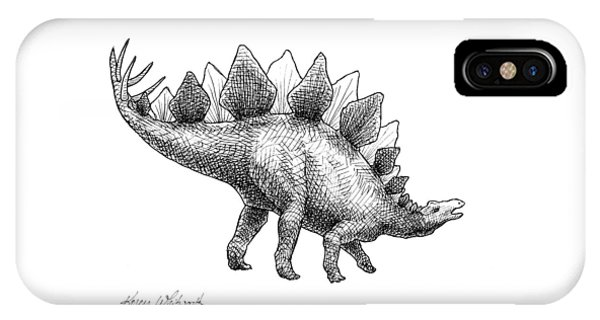 Stegosaurus - Dinosaur Decor - Black And White Dino Drawing IPhone Case