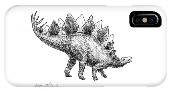 Dinosaur iPhone Case - Spike The Stegosaurus - Black And White Dinosaur Drawing by Karen Whitworth