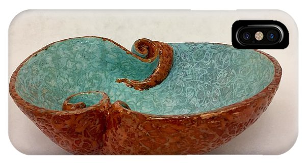 iPhone Case - Spiral Bowl In Red And Aqua by Ann Meany