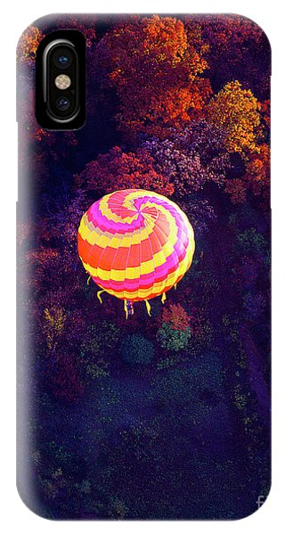 Spiral Colored Hot Air Balloon Over Fall Tree Tops Mchenry   IPhone Case