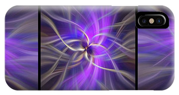Violet Flame iPhone Case - Spirituality. Black Framed Triptych by Jenny Rainbow