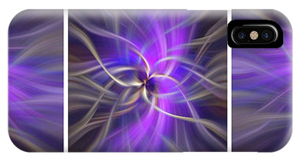 Violet Flame iPhone Case - Spirituality. White Framed Triptych by Jenny Rainbow