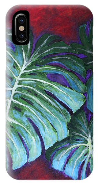 IPhone Case featuring the painting Split Leaf Philodendron by Phyllis Howard