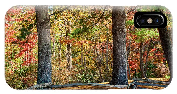 Split Rail Fence And Autumn Leaves IPhone Case
