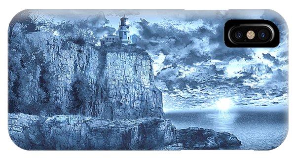 Split Rock iPhone Case - Split Rock Lighthouse Blue by Bekim M