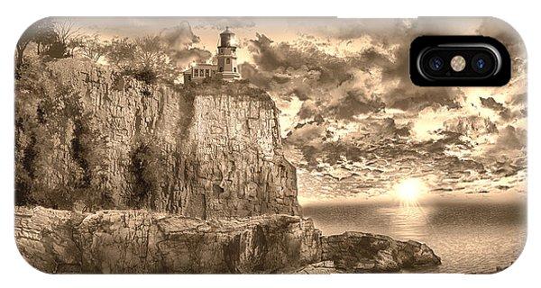 Split Rock iPhone Case - Split Rock Lighthouse Sepia by Bekim M