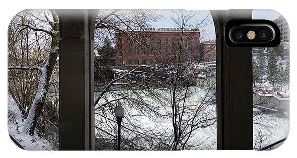 Centennial Bridge iPhone Case - Spokane Falls Winter Triptych by Daniel Hagerman