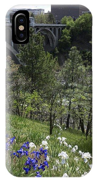 Centennial Bridge iPhone Case - Spokane Skyline From Centennial Trail by Daniel Hagerman