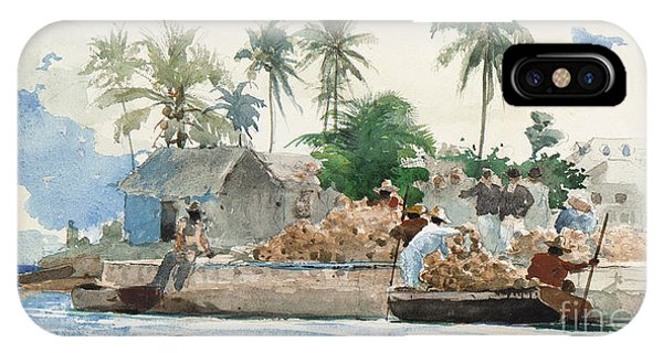 Bahamas iPhone Case - Sponge Fisherman In The Bahama by Winslow Homer