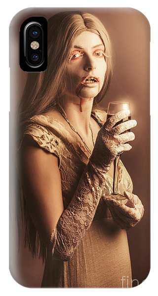 Spooky Vampire Girl Drinking A Glass Of Red Wine IPhone Case