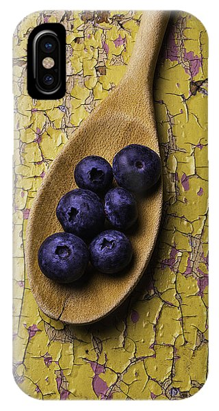 Blue Berry iPhone Case - Spoon Serving Blueberries by Garry Gay