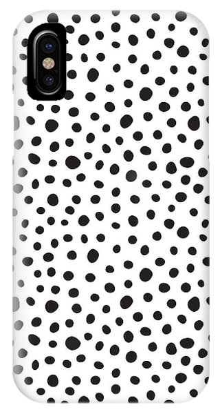 Black And White iPhone X Case - Spots by Rachel Follett