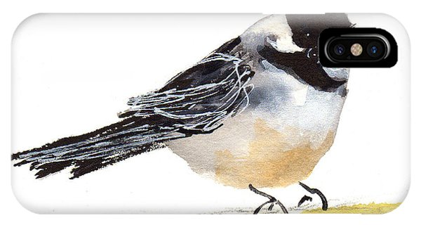 My Little Chickadee Bird Art Watercolor And Gouache And Ink Painting By Kmcelwaine IPhone Case