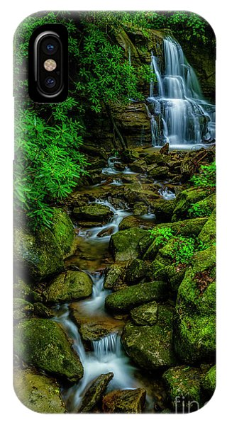 iPhone Case - Spring Green Waterfall And Rhododendron by Thomas R Fletcher