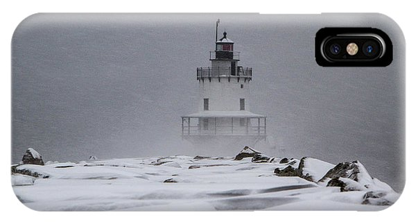 IPhone Case featuring the photograph Spring Point Ledge Lighthouse Blizzard by Darryl Hendricks