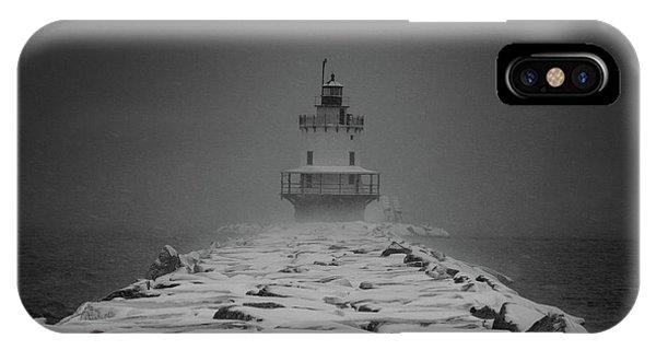 Spring Point Ledge Lighthouse Blizzard In Black N White IPhone Case