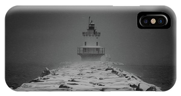 IPhone Case featuring the photograph Spring Point Ledge Lighthouse Blizzard In Black N White by Darryl Hendricks